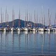 Yachts Docked In The Harbor Gocek Art Print by Christine Giles