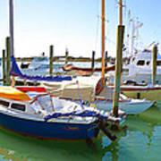 Yachts In A Port 4 Art Print
