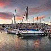 yachts in Mikrolimano marina  Art Print