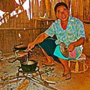 Yao Mien Tribe Man In His Home With His Cooking Pot North Of Chiang Rai In Mae Salong-thailand  Art Print