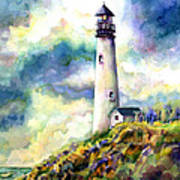 yaquina Head Lighthouse Art Print by Ann  Nicholson
