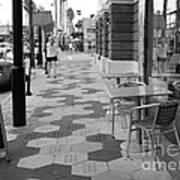 Ybor City Sidewalk - Black And White Art Print