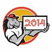 Year Of Horse 2014 Showing Sign Cartoon Art Print by Aloysius Patrimonio