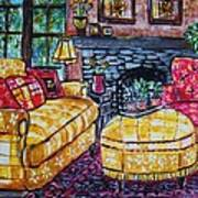 Yello Sofa Art Print by Linda Vaughon
