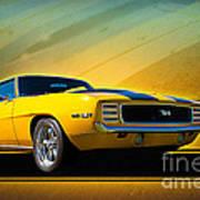 Yellow 1969 Camaro Ss Art Print