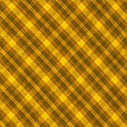 Yellow And Brown Diagonal Plaid Pattern Cloth Background Art Print