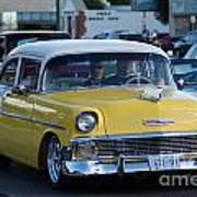 Yellow And White Classic Chevy Art Print