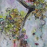 Yellow Blossoms Painting Flowr Butterflies Art Abstract Modern Spring Color Flower Art Art Print