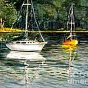 Yellow Boat Sister Bay Art Print