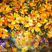 Yellow Bouquet - Palette Knife Oil Painting On Canvas By Leonid Afremov Art Print
