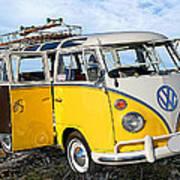 Yellow Bus At The Beach Art Print by Ron Regalado