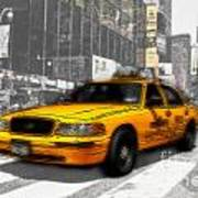 Yellow Cab At The Times Square -comic Art Print