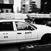 Yellow Cab With Advertising Hoarding Blurring Past Crosswalk And Pedestrians New York City Usa Art Print