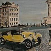 Yellow Car In Prague Art Print
