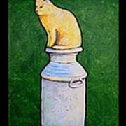 Yellow Cat On Milk Can Art Print
