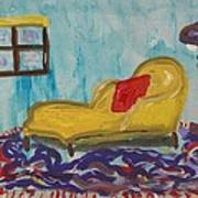 Yellow Chaise-red Pillow Art Print