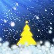 Yellow Christmas Tree Art Print