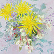 Yellow Dahlias And Peruvian Lilies Art Print