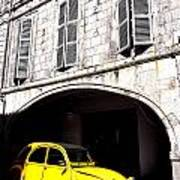 Yellow Deux Chevaux In Shadow Art Print