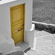 Yellow Door Of Oia Art Print