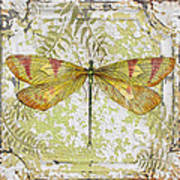 Yellow Dragonfly On Vintage Tin Art Print
