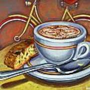 Yellow Dutch Bicycle With Cappuccino And Biscotti Art Print
