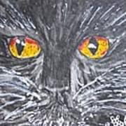 Yellow Eyed Black Cat Art Print