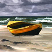 Yellow Fishing Dory Before The Storm Art Print