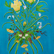 Yellow Floral Enchantment In Turquoise Art Print