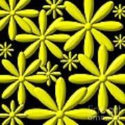 Yellow Flower Power 3d Digital Art Art Print