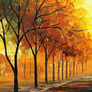 Yellow Fog - Palette Knife Oil Painting On Canvas By Leonid Afremov Art Print