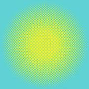 Optical Illusion - Yellow On Aqua Art Print