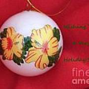 Yellow Hibiscus Christmas Bulb Art Print