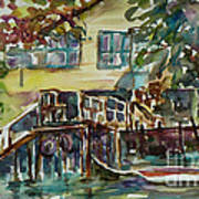 Yellow House By The River Art Print