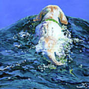 Yellow Lab  Blue Wake Art Print by Molly Poole