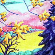 Yellow Leaves On Pink Hills Art Print