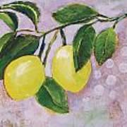 Yellow Lemons On Purple Orchid Art Print by Jen Norton