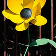 Yellow Metal Garden Flower Art Print