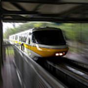 Yellow Monorail Entering The Station 02 Art Print