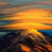 Yellow Mountaintop Hugged By Yellow Cloud  Art Print