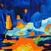 Yellow Orange Blue Sunset Landscape Art Print