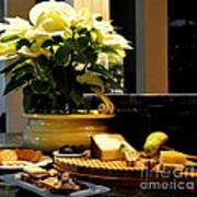 Yellow Poinsettia And Cheeses Art Print