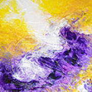 Yellow Purple Inspirational Color Energy Original Abstract Painting Tide Of Time By Chakramoon Art Print