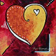 Yellow Red Orange Heart Love Painting Pop Art Love By Megan Duncanson Art Print by Megan Duncanson
