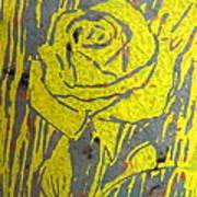 Yellow Rose On Blue Art Print by Marita McVeigh