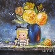 Yellow Roses And Headvase Girl Art Print