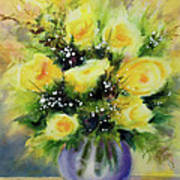 Yellow Roses Print by Kathy Braud