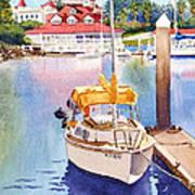 Yellow Sailboat And Coronado Boathouse Art Print by Mary Helmreich