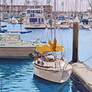 Yellow Sailboat Oceanside Art Print