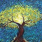 Yellow Squiggle Tree Art Print